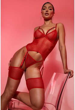 Red Valentines Mesh Strapping Suspender Basque Set