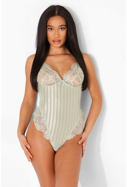 Sage green Stripe Mesh and Lace Bodysuit