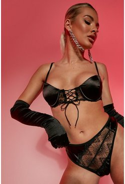Black svart Lace Up Satin Lingerie Set