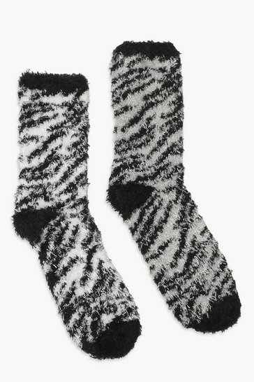 Blackwhite black 2 Pack Zebra Fluffy Lounge Socks