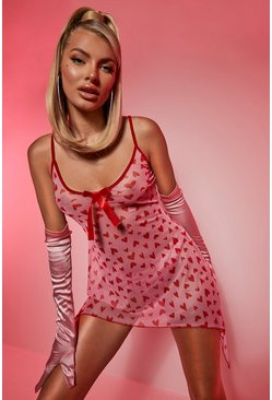 Valentines Heart Mesh Frill Babydoll, Red rosso