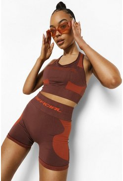 Chocolate brown Ofcl Seamfree Contour Sports Bra