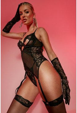 Black svart Peep Suspender Basque Set