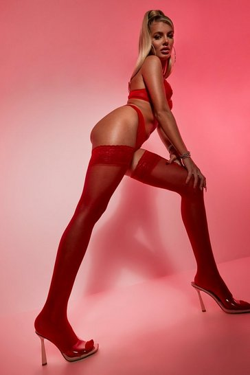 Red Lace Top Sheer Stockings