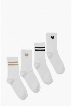 White 4 Pack Sports Socks