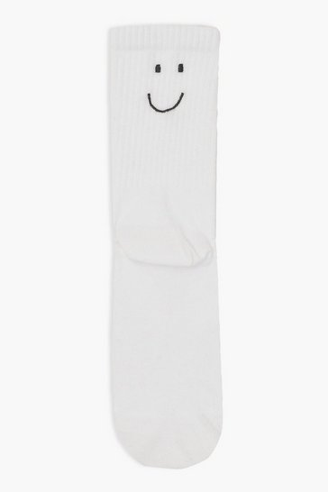 White Sport Sock Black Happy Face Embroidery