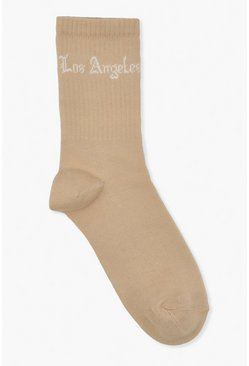 Beige Basic Sock With LA Slogan
