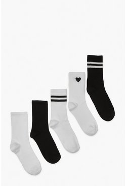 Blackwhite black 5 Pack Sports Socks