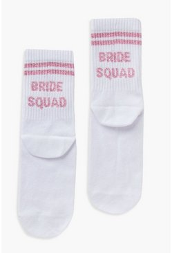 White Bride Squad Slogan Sock