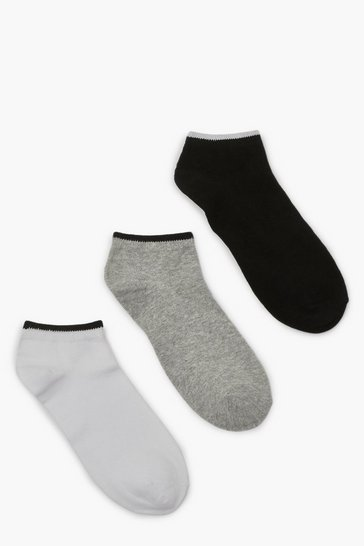 Multi 3 Pack Contrast Trim Trainer Socks