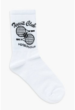 Black Members Only Slogan Tennis Sports Sock