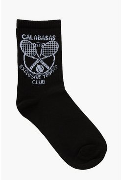 Black Calabasas Slogan Tennis Sports Sock