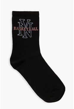 Black Ny Basketball Slogan Sport Sock