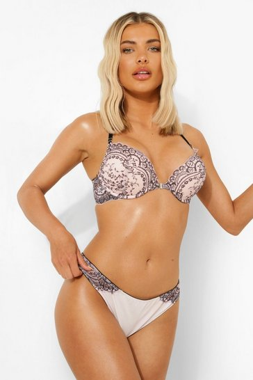 Pink Corded Contrast Lace Brazilian