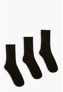 Black Plain Sports Socks 3 Pack
