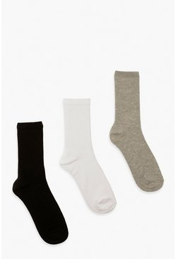 Multi Mixed Plain Sports Socks 3 Pack