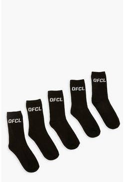 Black Ofcl Sports Socks 5 Pack