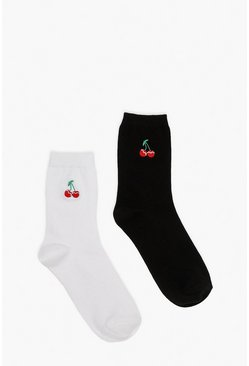 Multi Cherry Embroidered Ankle Socks 2 Pack