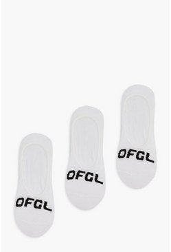 White Ofcl Branded Invisible Socks 3 Pack