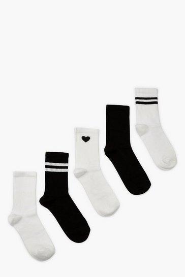 Blackwhite black 5 Pack Sports Socks