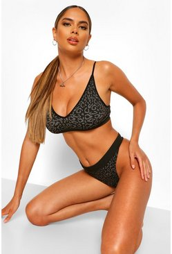 Black Leopard Triangle Bralet