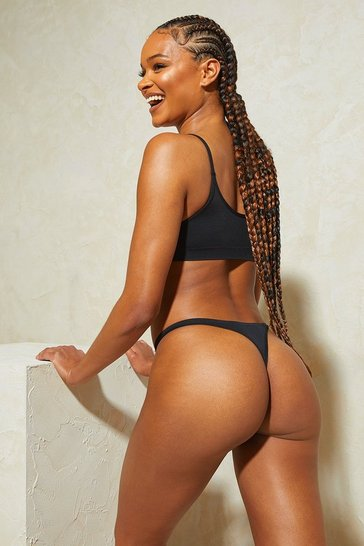 Black Know Your Lemons Seamless Dip Front Thong