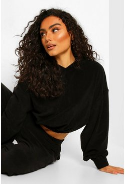 Black Mix N Match Towelling Hoodie