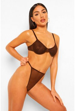 Brown Mesh Underwired Bra and Thong Set