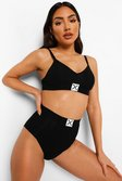 Black Woman Branded Logo Rib High Waist Brief