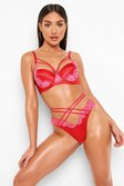 Red Satin Double Strapping Balcony Bra