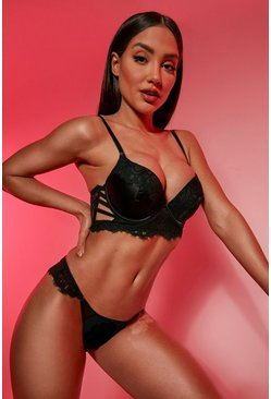 Black Satin Strapping Wing Bra