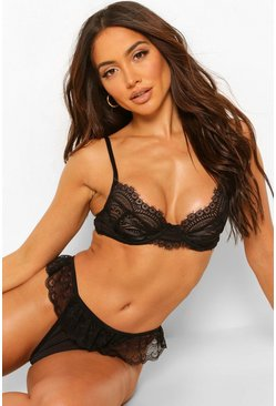Black Lace Frill Strapping Cup Underwire Bra