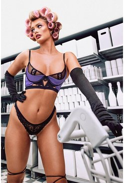 Purple Satin Half Cup Lace Up Bra