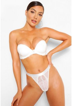 Ivory white Satin Super Push Up Strapless Bra