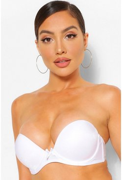 Wit white Strapless Super Push Up Beha