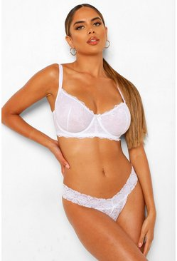White Dd+ Lace Underwire Bra