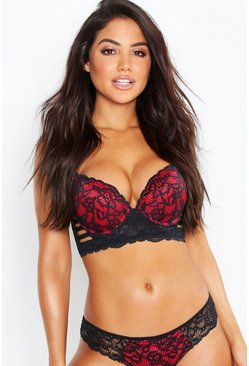 Black Strapping Wing Super Push Up Bra
