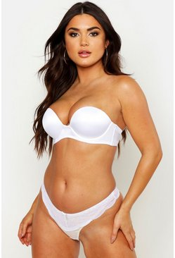 White Super Push Up Strapless Bra