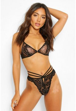 Black Cutout Bralet + Strappy Thong Set