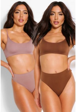 Mocha beige 2 Pack Seamfree Thong