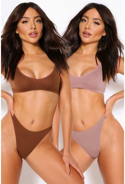 Mocha beige 2 Pack Seamfree Dip Front Thong