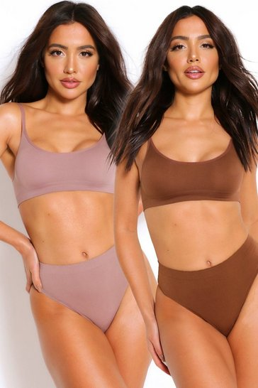 Mocha beige 2 Pack Seamfree Scoop Bralette
