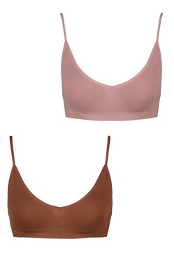 Mocha 2 Pack Seamfree Triangle Bralette