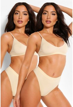Lot de 2 brassières coupe triangle sans coutures, Couleur chair nude
