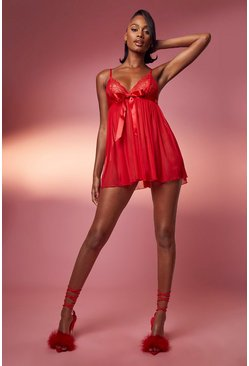 Red Pleated Bow Babydoll & String Set