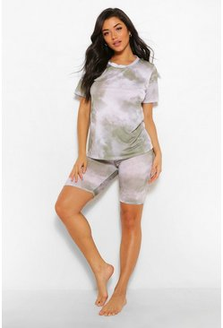 Khaki Tie Dye T-shirt and Cycling Short Set