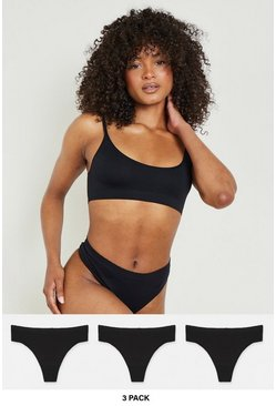 Black 3 Pack Seamfree Thong