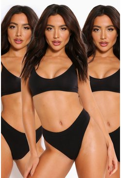 Black 3 Pack Seamfree Triangle Bralette
