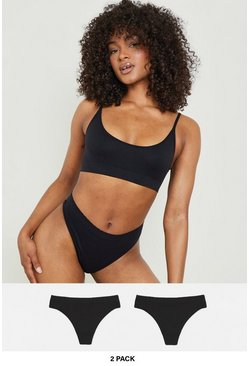 Black 2 Pack Seamfree Thong