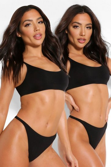 Black 2 Pack Seamfree Dip Front Thong